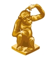 Golden statue of the thinking monkey vector image