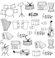 Doodle of hand draw music object vector image