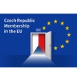 European Union flag wall with Czech Republic flag vector image