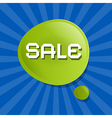 Green Sale Bubble Icon on Blue Backgound vector image