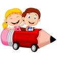Happy children cartoon riding pencil car vector image