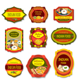 Indian Food Colorful Emblems vector image