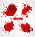 Red ink splashes set vector image