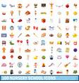 100 nursery school icons set cartoon style vector image