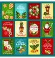 Christmas winter holiday greeting card set vector image vector image