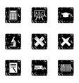 Children education icons set grunge style vector image