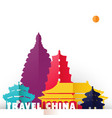 travel china paper cut world monuments vector image
