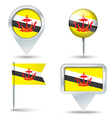 Map pins with flag of Brunei vector image vector image