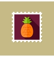 Pineapple flat stamp with long shadow vector image