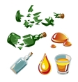 Broken bottle drop alcohol glass isolated vector image
