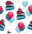 Cake and Balloons Holiday Seamless Pattern vector image
