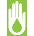 Hand With Ecology on Green vector image