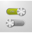 ON and OFF button on a metal background vector image