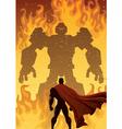 Superhero Versus Robot vector image