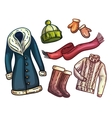 Set of warm winter clothes and accessories vector image