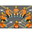 isometric shunter at work in eight positions vector image vector image