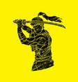 samurai with sword katana vector image