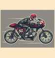 hand drawing man riding a cafe racer vector image vector image