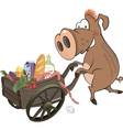 Wild boar and the cart with products vector image vector image