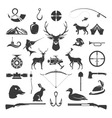 Set of Hunting and Fishing Objects Design vector image vector image