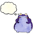 cartoon fat frog with thought bubble vector image