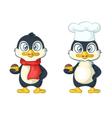cartoon penguin chef vector image vector image