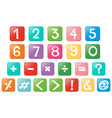number and signs on square buttons vector image