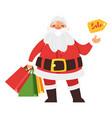 santa claus holding shopping bags vector image