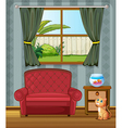 A cat looking at the fish inside the house vector image