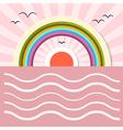 Ocean Abstract Retro with Sun Birds Rainbow vector image