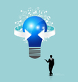 Businessman showing light bulb with cloud of vector image vector image
