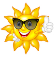 Cartoon sun giving thumbs up isolated on white bac vector image