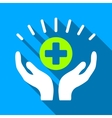 Medical Prosperity Hands Flat Long Shadow Square vector image