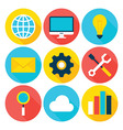 Business Big Data Flat Circle Icons Set vector image