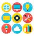 Business Big Data Flat Circle Icons Set vector image