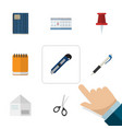 flat icon tool set of pushpin clippers letter vector image