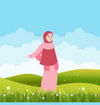 girl standing alone in green field land wearing vector image