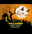 halloween night party orange background vector image