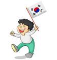 Little boy and South Korea flag vector image