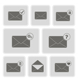 monochrome icons with mail symbols vector image