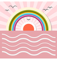 Ocean Abstract Retro with Sun Birds Rainbow vector image