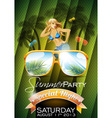 summer beach party flyer design with sexy girl vector image