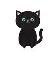 Cute sitting black cartoon cat with moustache vector image