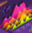 Isometric Infographic Histogram Set Elements in vector image vector image