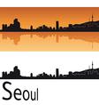 Seoul skyline in orange background vector image vector image