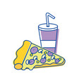 soda and pizza background icon vector image