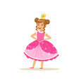 beautifull little girl princess in a dark pink vector image