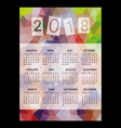 2018 simple business wall calendar with low vector image