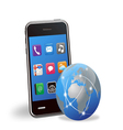 smart phone applications and global network vector image vector image