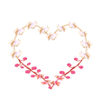 Pink Cassia Fistula Flowers in A Heart Shape vector image